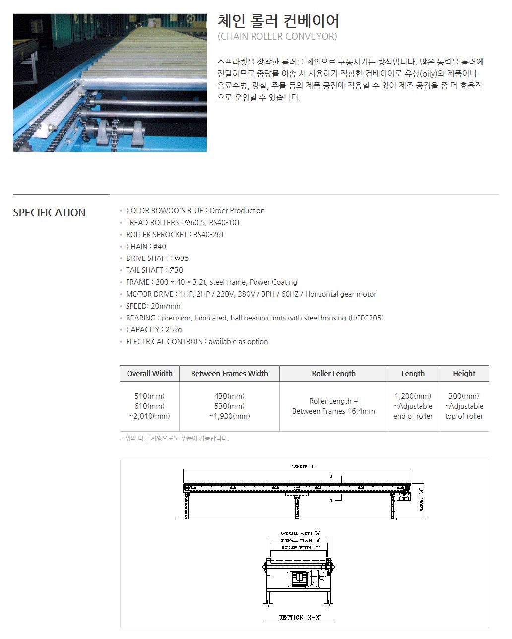 (주)보우시스템 동력 Conveyor : 체인 롤러 컨베이어  1