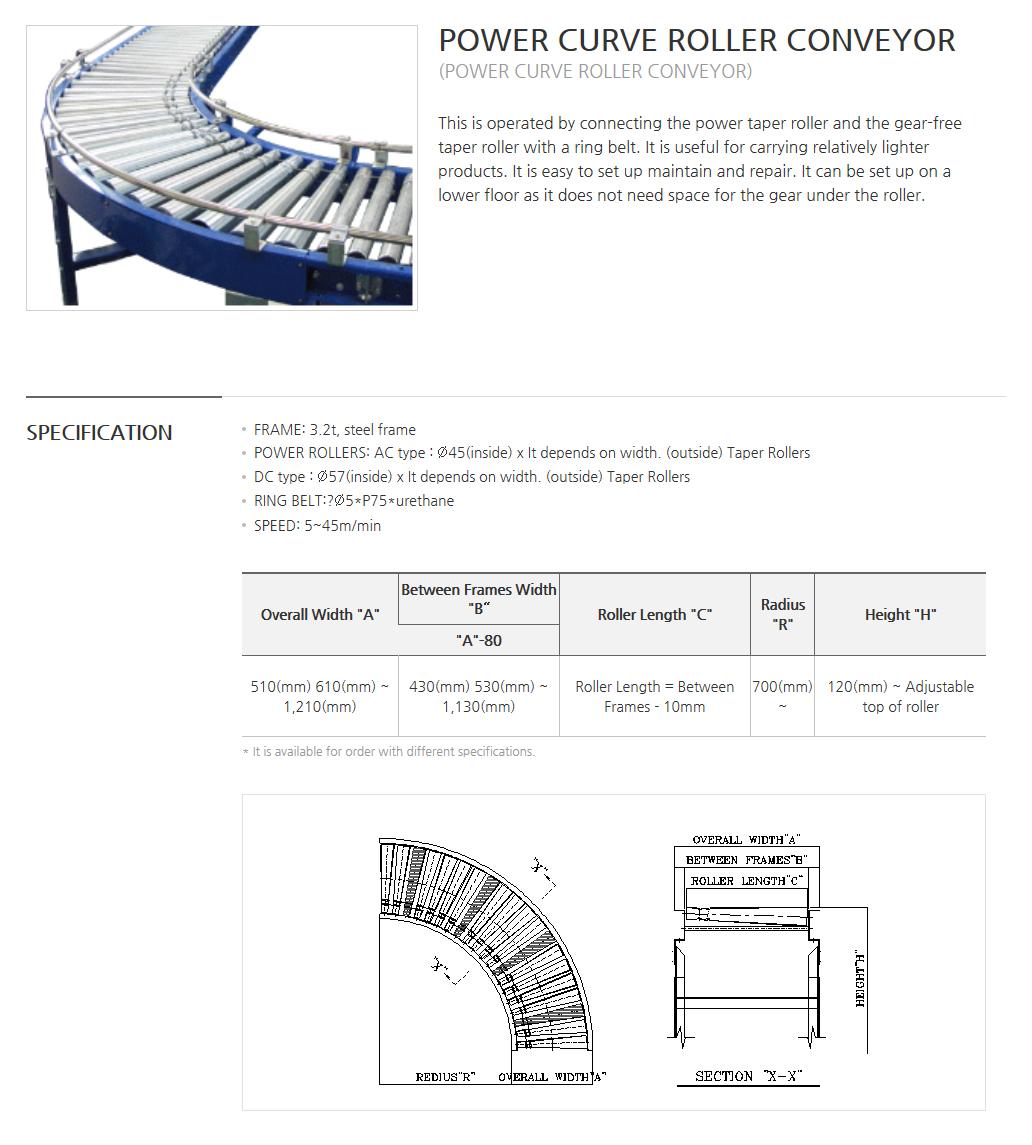 BOWOOSYSTEM Power Conveyor : Power Curve Roller Conveyor