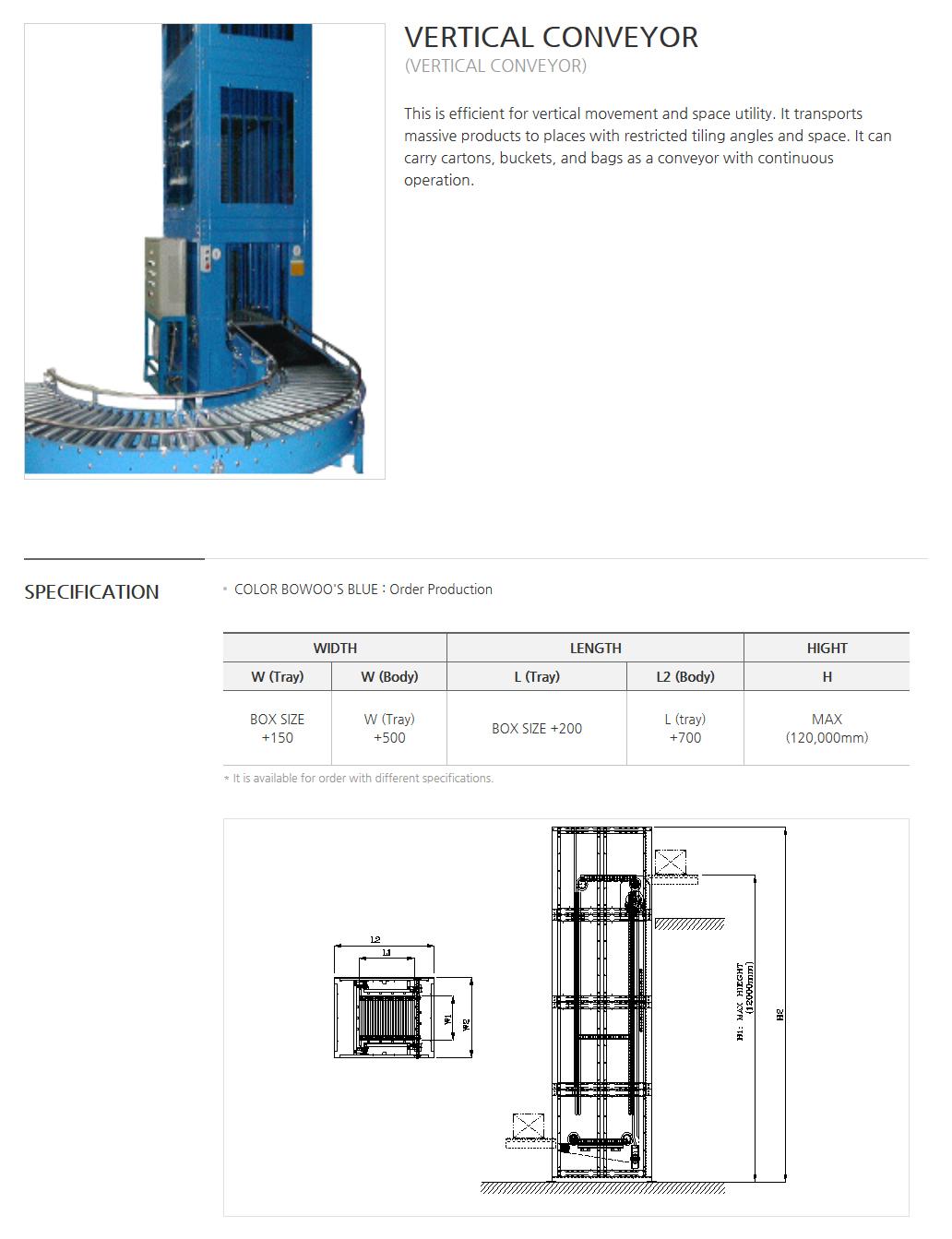 BOWOOSYSTEM Power Conveyor : Vertical Conveyor