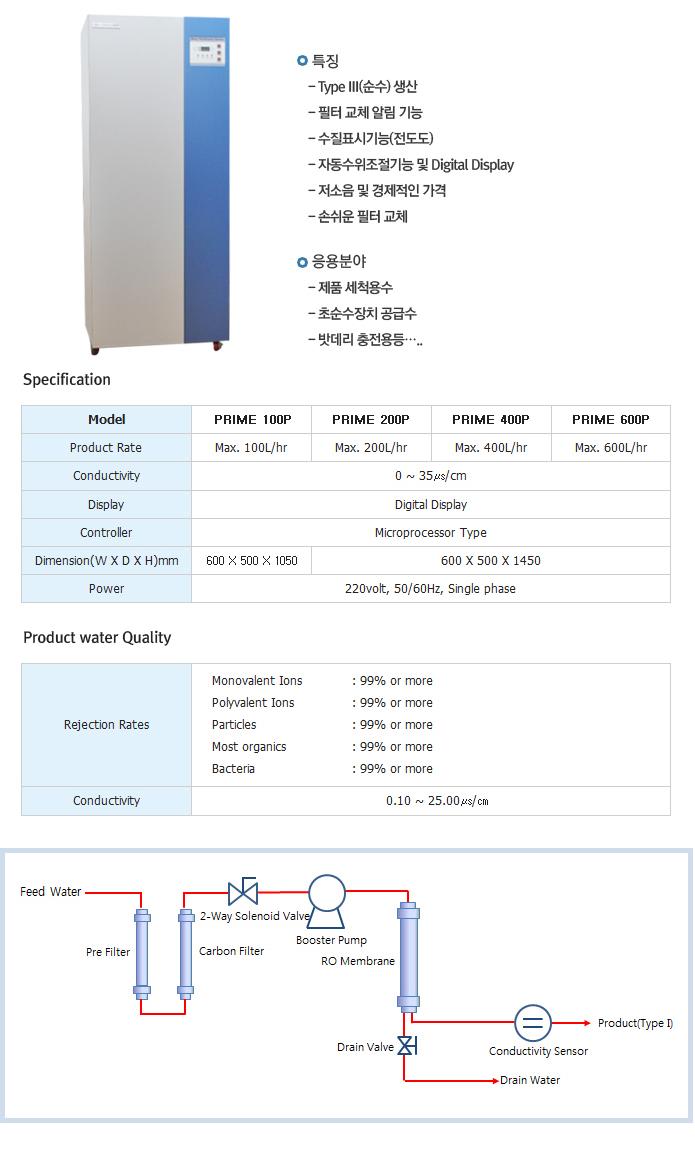 신화사이언스 대용량순수제조장치 PRIME 100P/200P/400P/600P