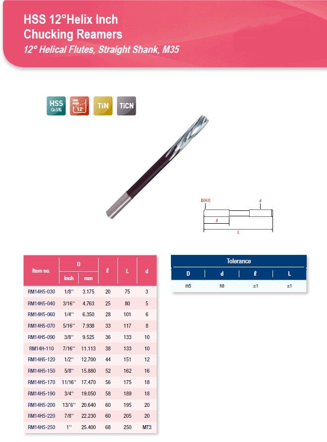 DYC Total Tools HSS 12°Helix Inch Chucking Reamers RM14H5 Series