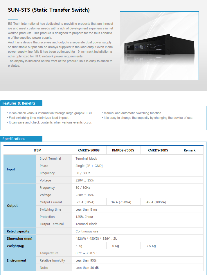 ES-TECH International Static Transfer Switch RMRDS-Series