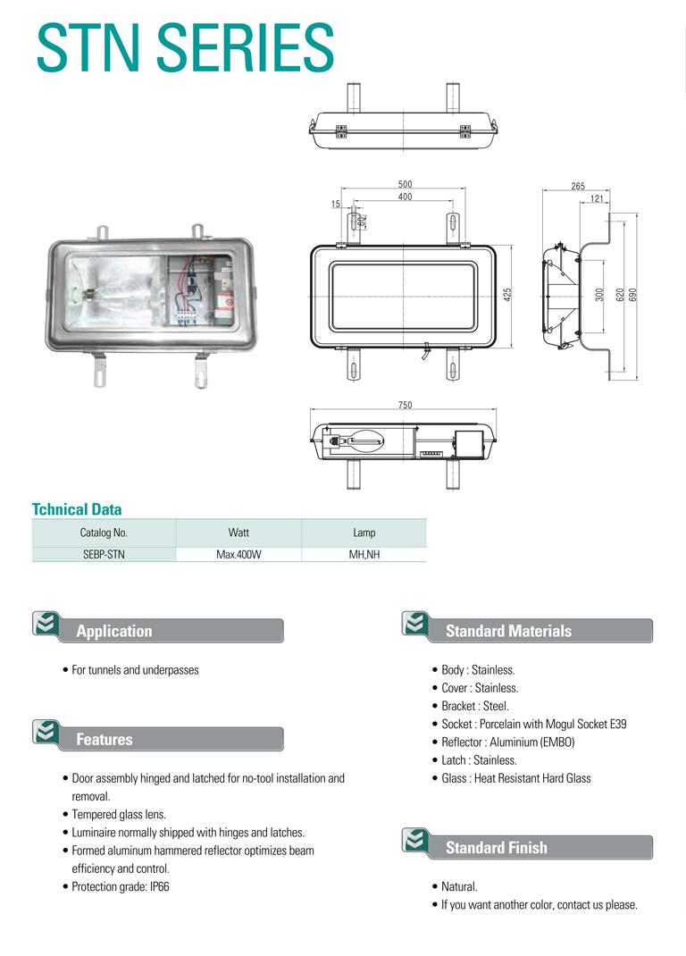 Samik Explosi Onproof Elxctric High pressure Stainless Steel Tunnel Lights STN Series