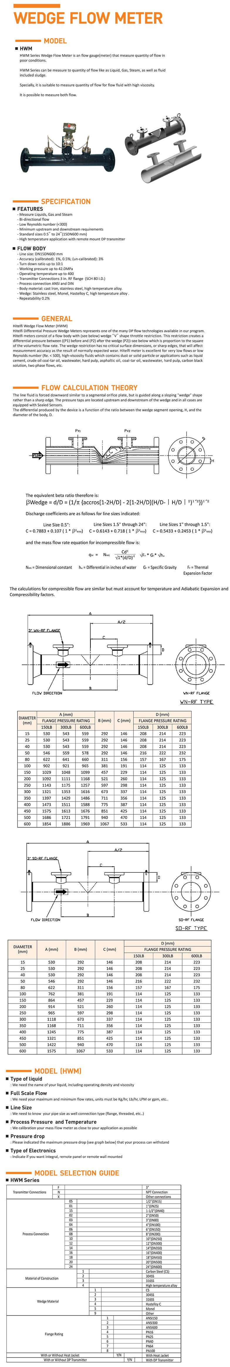 HITELFI Wedge Flow Meter HWM