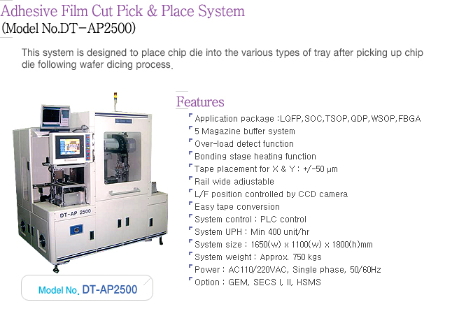 Dynatech Adhesive Film Cut Pick & Place System DT-AP2500
