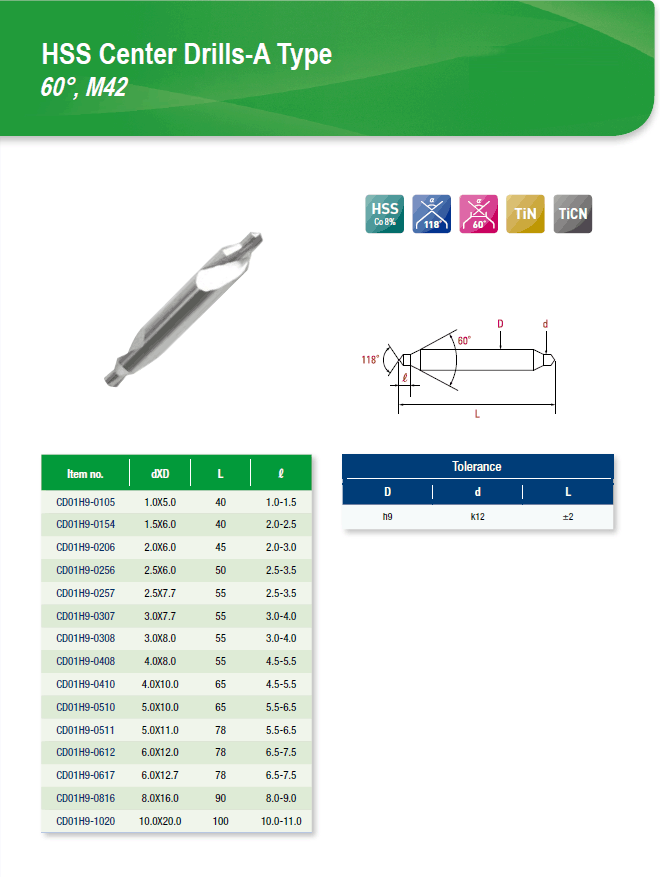 DYC Total Tools HSS Center Drills-A Type 60°, M42 CD01H9 Series