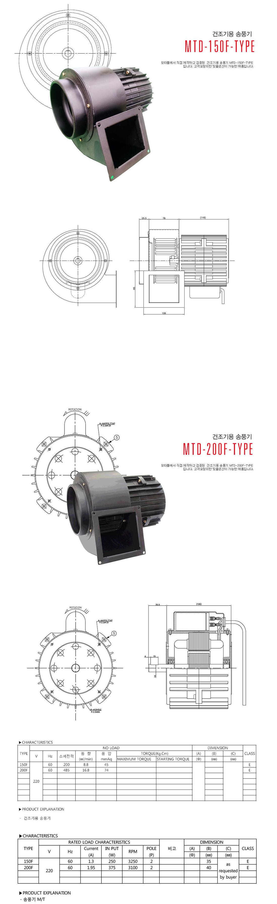 모타돌 건조기용 송풍기 MTD-150F Type