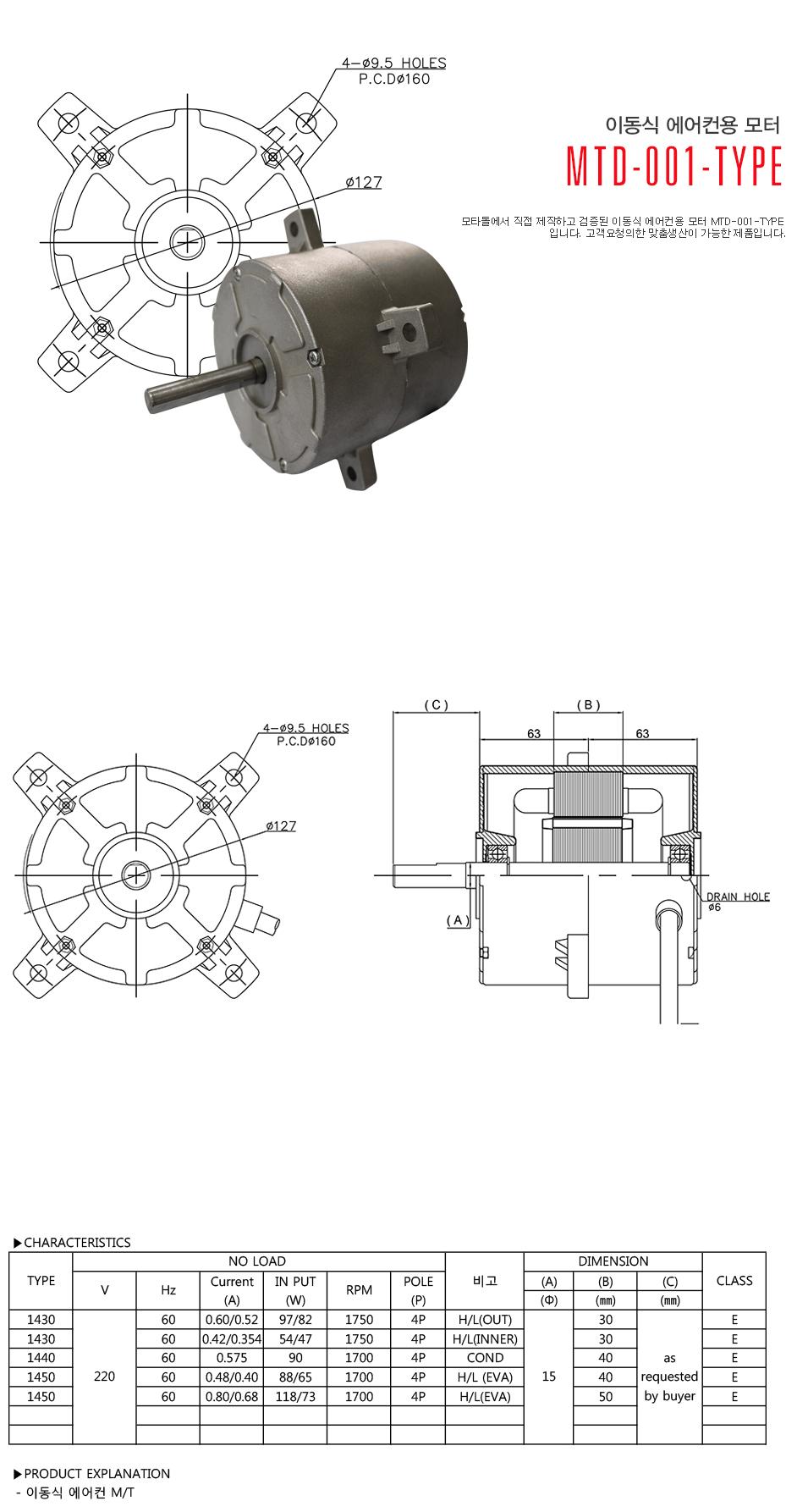 모타돌 이동식 에어컨용 모터 MTD-001 Type