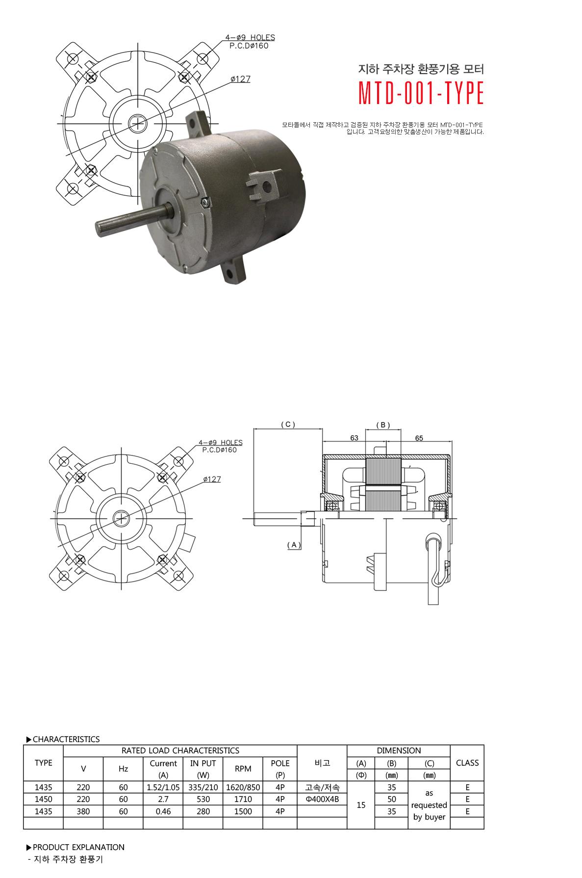 모타돌 지하 주차장 환풍기용 모터 MTD-001 Type