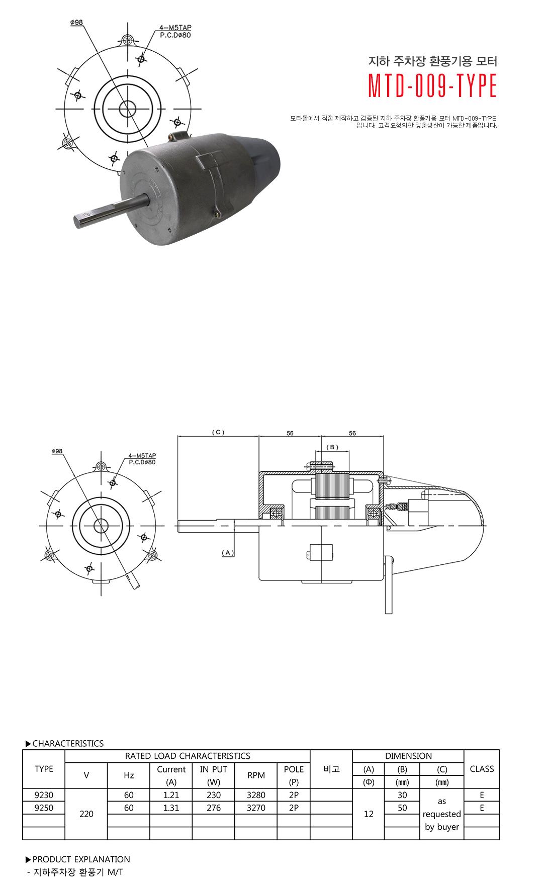 모타돌 지하 주차장 환풍기용 모터 MTD-009 Type