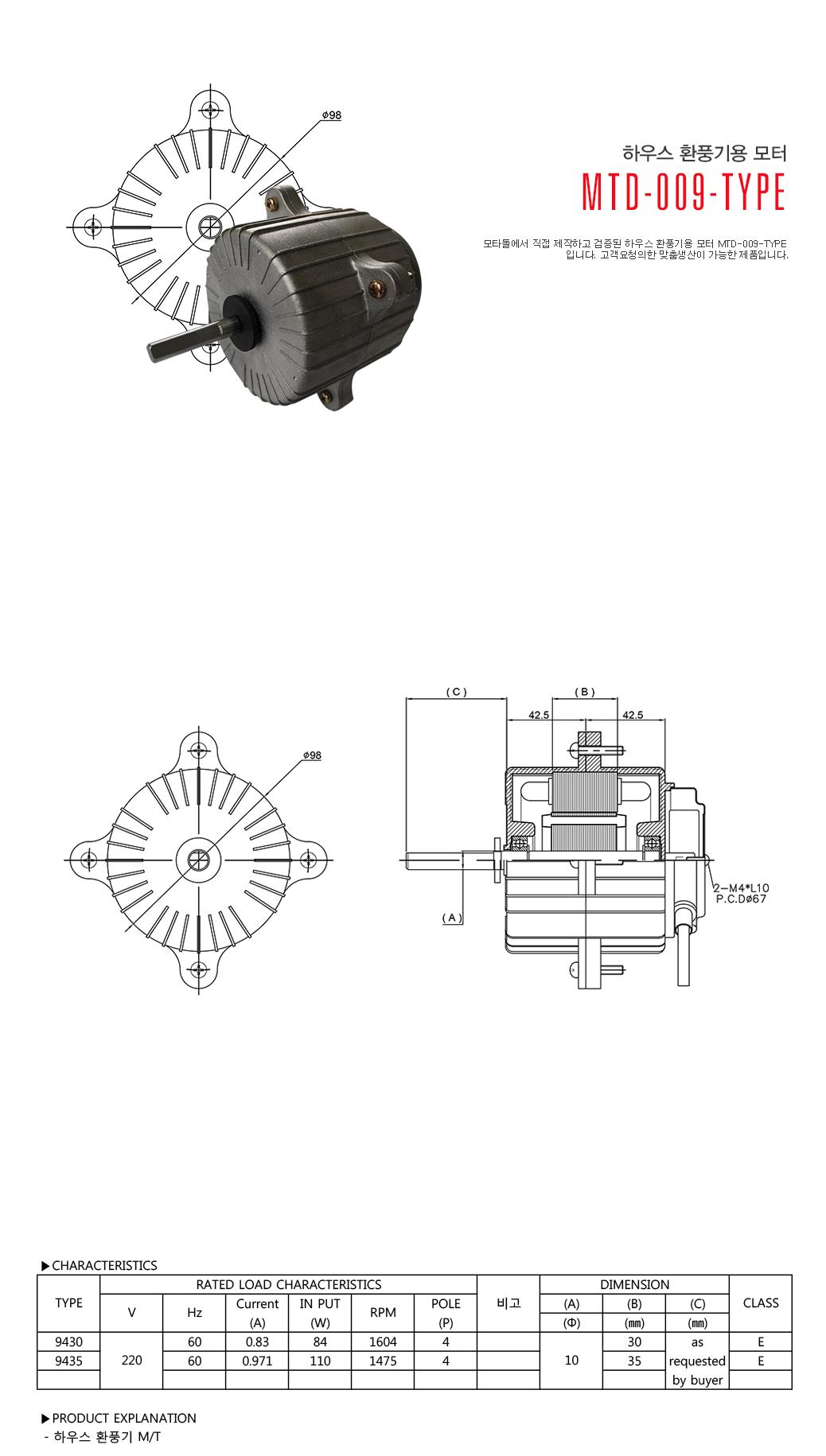 모타돌 하우스 환풍기용 모터 MTD-009 Type