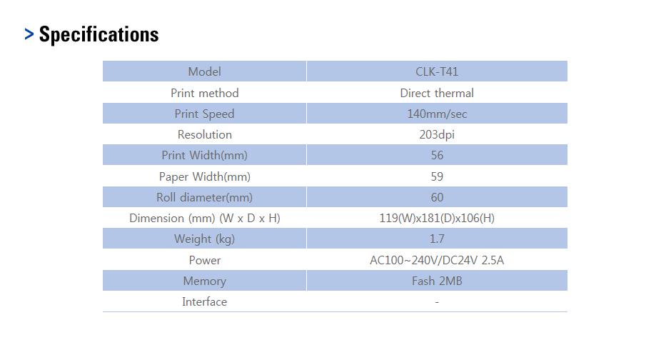 CAS Printer CLK-T41 1