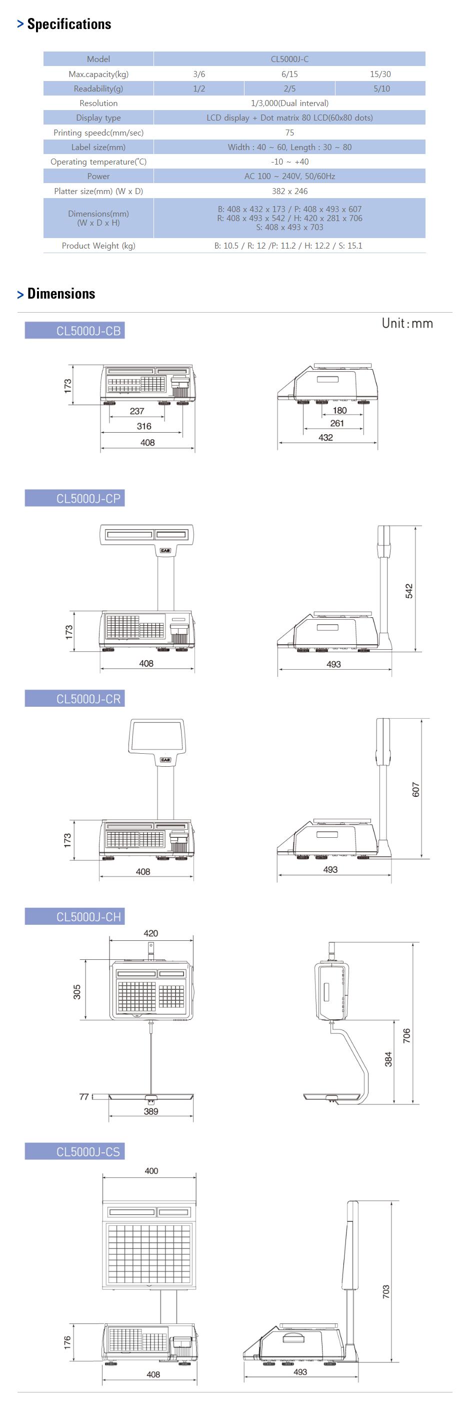 CAS Label Printing Scale CT-5000J 1