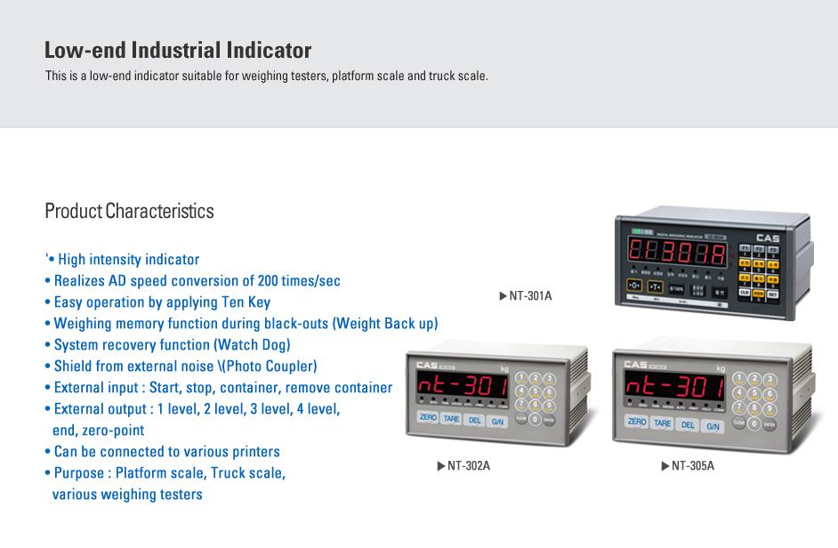 CAS Industrial Indicator NT-300 Series