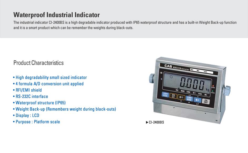CAS Waterproof Industrial Indicator CI-2400BS