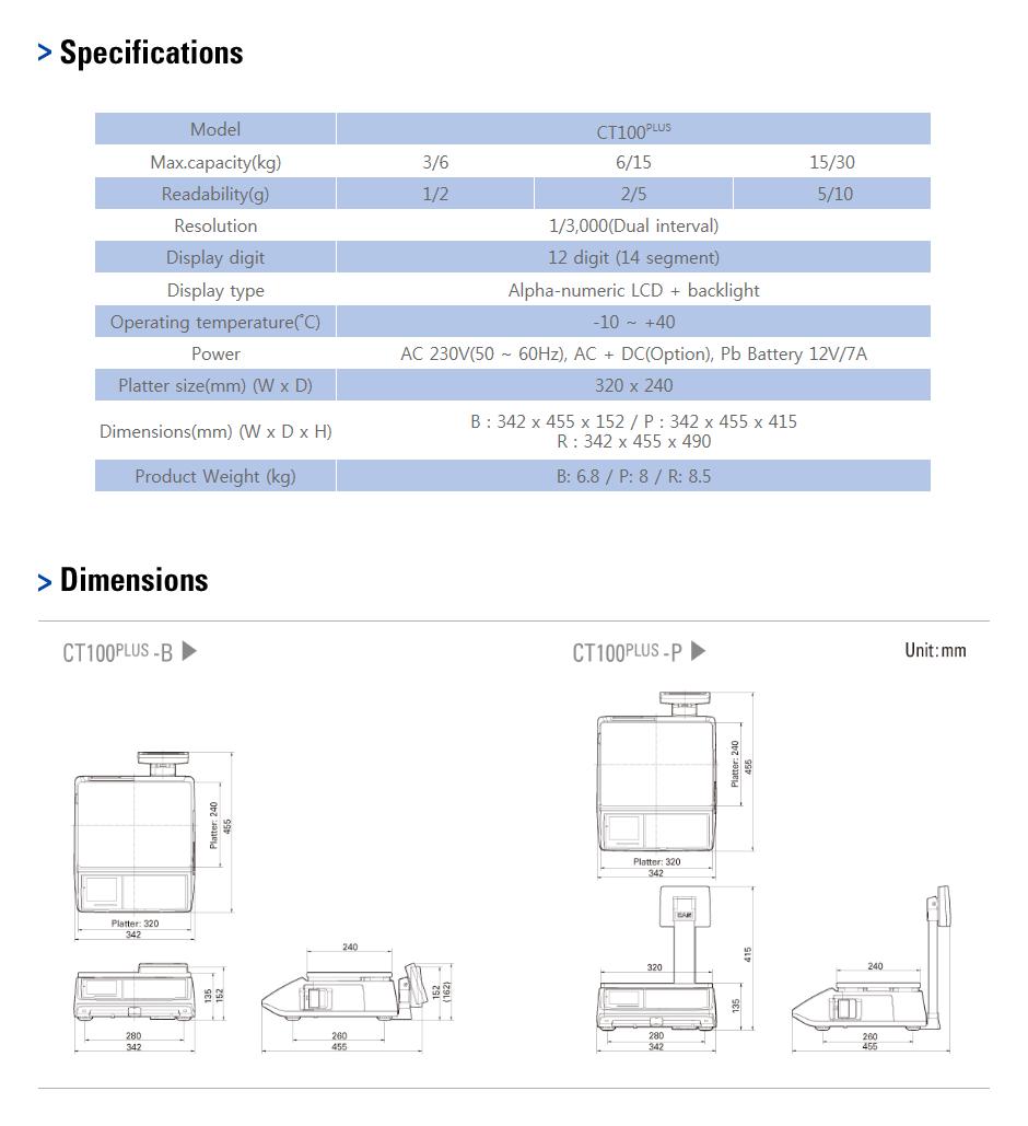 CAS Label Printing Scale CT100PLUS 1