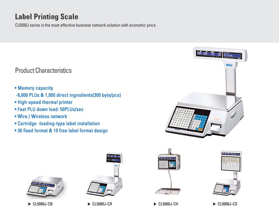 CAS Label Printing Scale CT-5000J