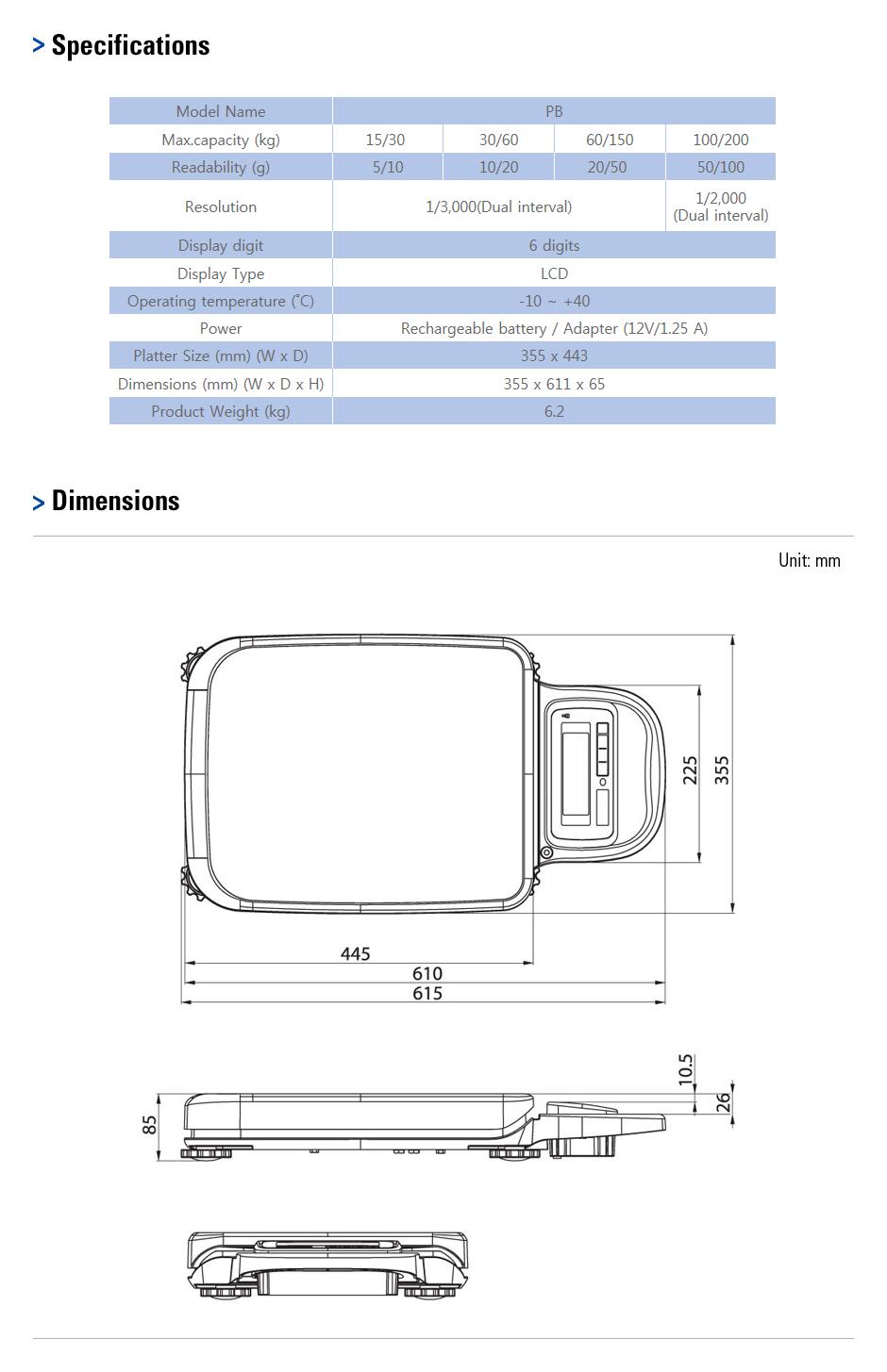 CAS Bench Scale (Portable) PB 1