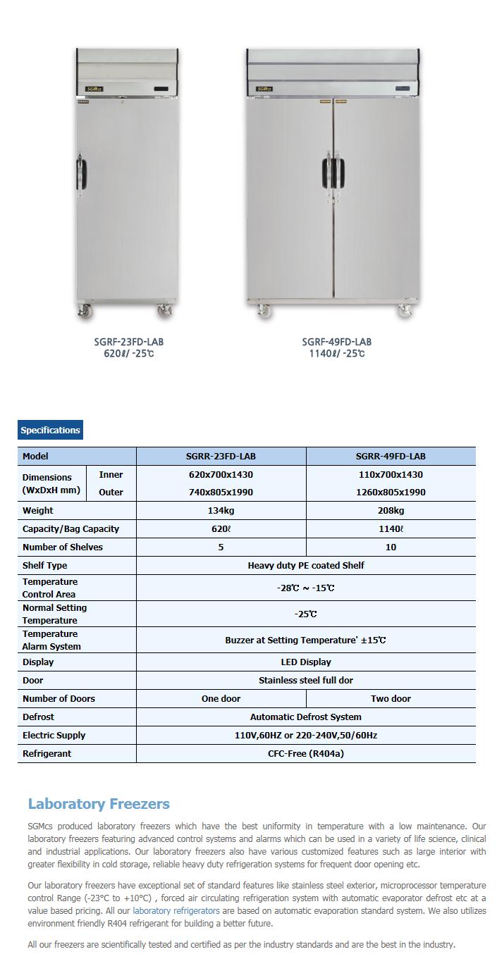 Changshin Tech Laboratory Freezer SGRR-23FD/49FD-LAB-Series