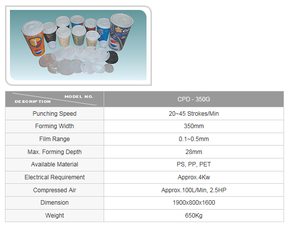CUPO TECH Plastic Lid Thermoforming Machine CPD-350G