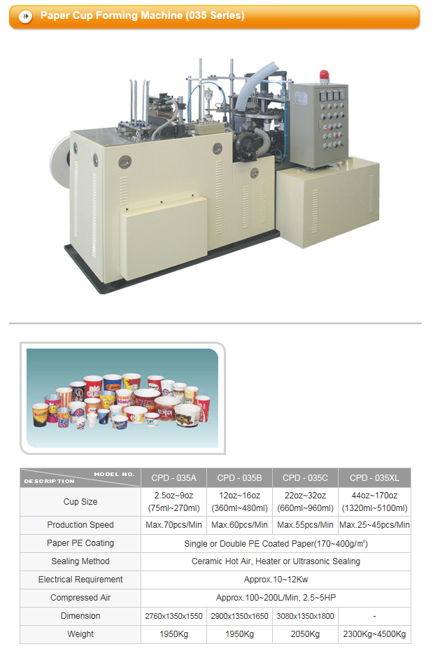 CUPO TECH Paper Cup Forming Machine CPD / CP Series 2
