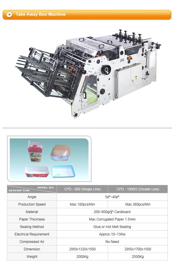 CUPO TECH Take Away Box Machine CPD / CP Series