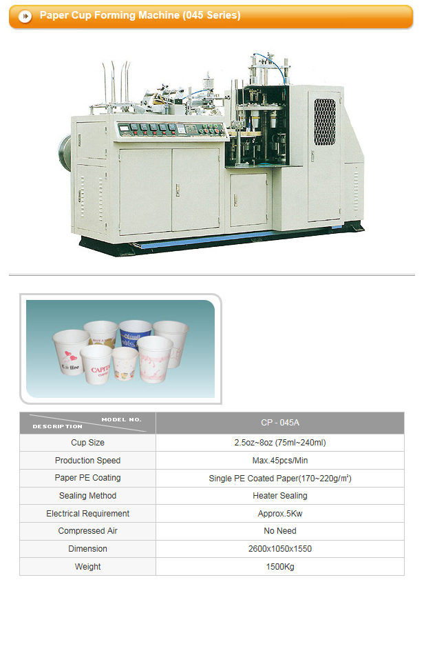 CUPO TECH Paper Cup Forming Machine CPD / CP Series 3