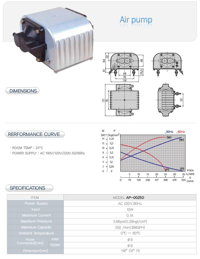 CSE Air Pump CS-0025A/B/D