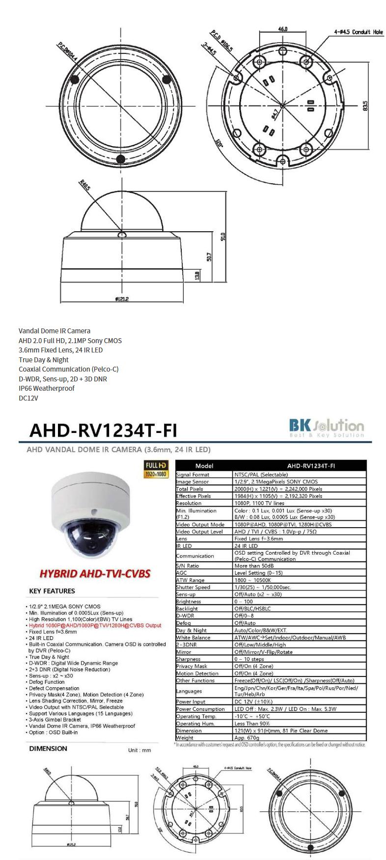 Bk Solution  AHD-RV1234T-FI