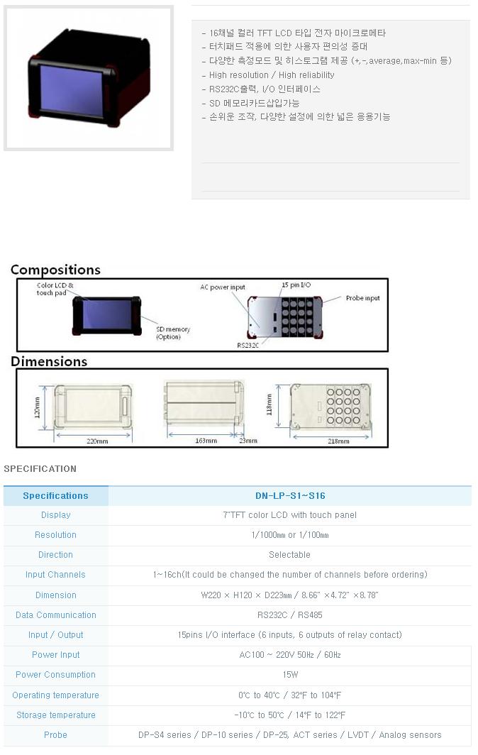 (주)다셀 LVDT DN-LP-S1~S16 1