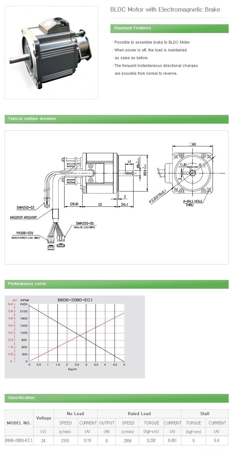 DAEHWA E/M BLDC Motor with Electromagnetic Brake B606-20B0-EC1
