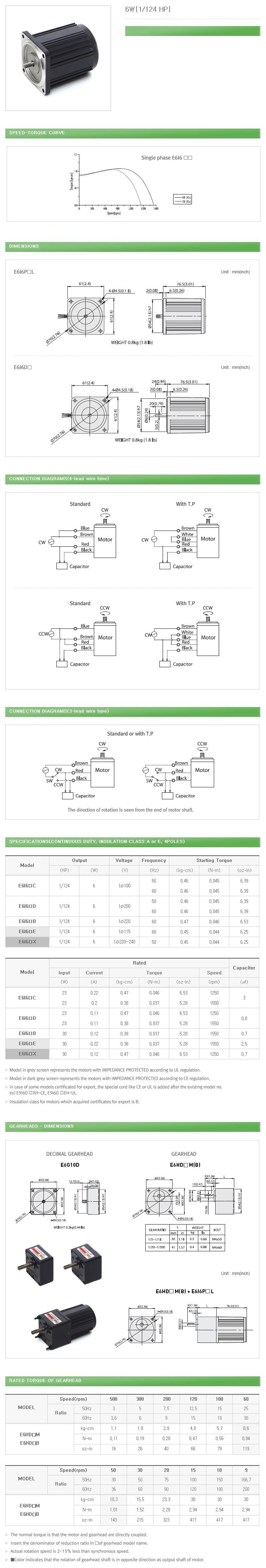 DAEHWA E/M Induction Motor (6W, 1/124 HP)