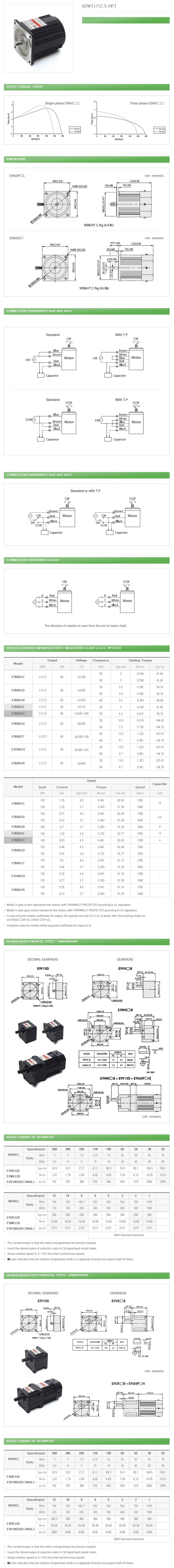 DAEHWA E/M Induction Motor (60W, 1/12.5 HP)