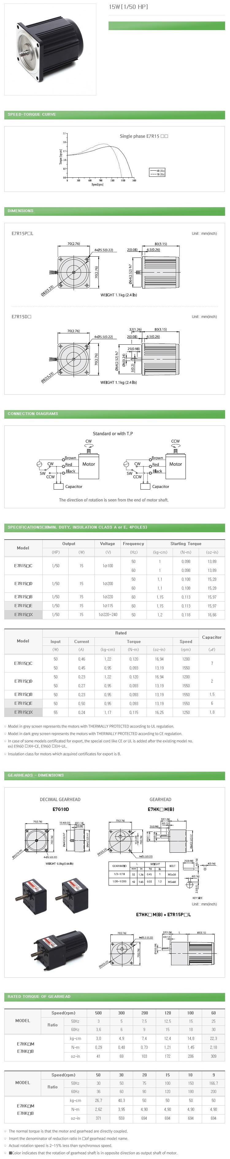 DAEHWA E/M Reversible Motor (15W, 1/50 HP)
