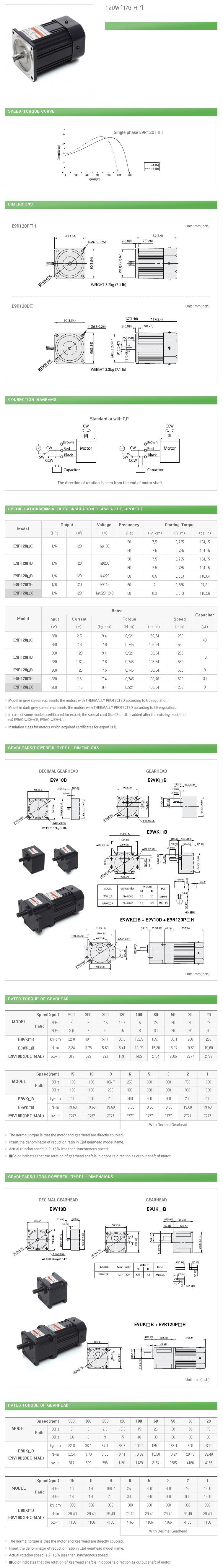 DAEHWA E/M Reversible Motor (120W, 1/6 HP)