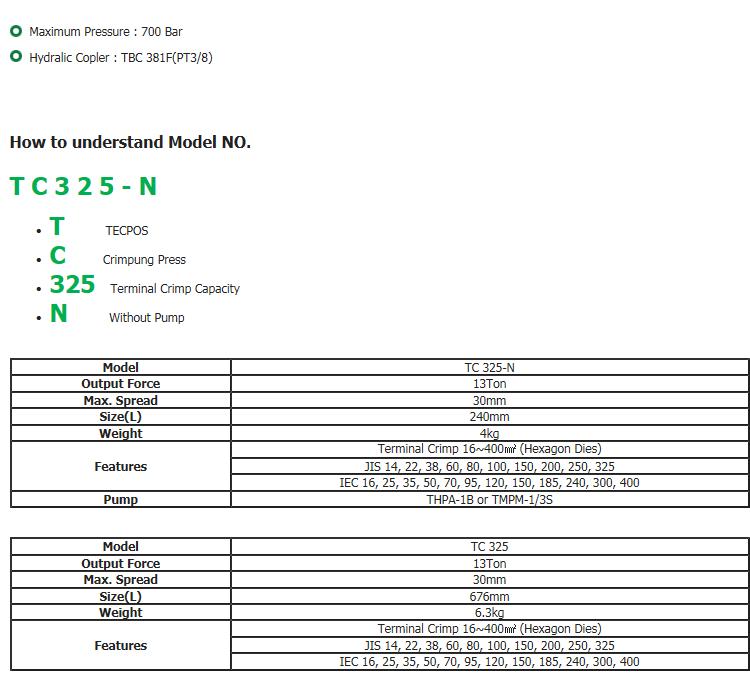 DaeJin Hydraulic Machinery Terminal Crimping Press TC 325/325-N