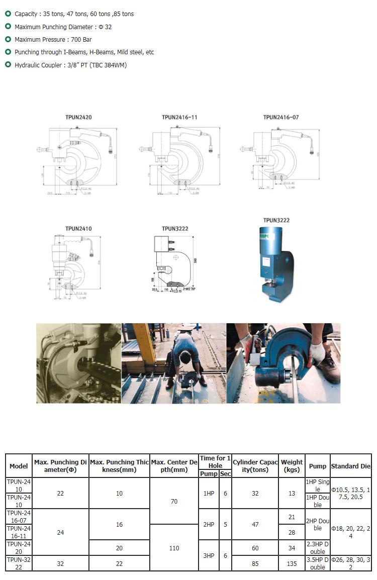 DaeJin Hydraulic Machinery Hydraulic Punch TPUN-Series
