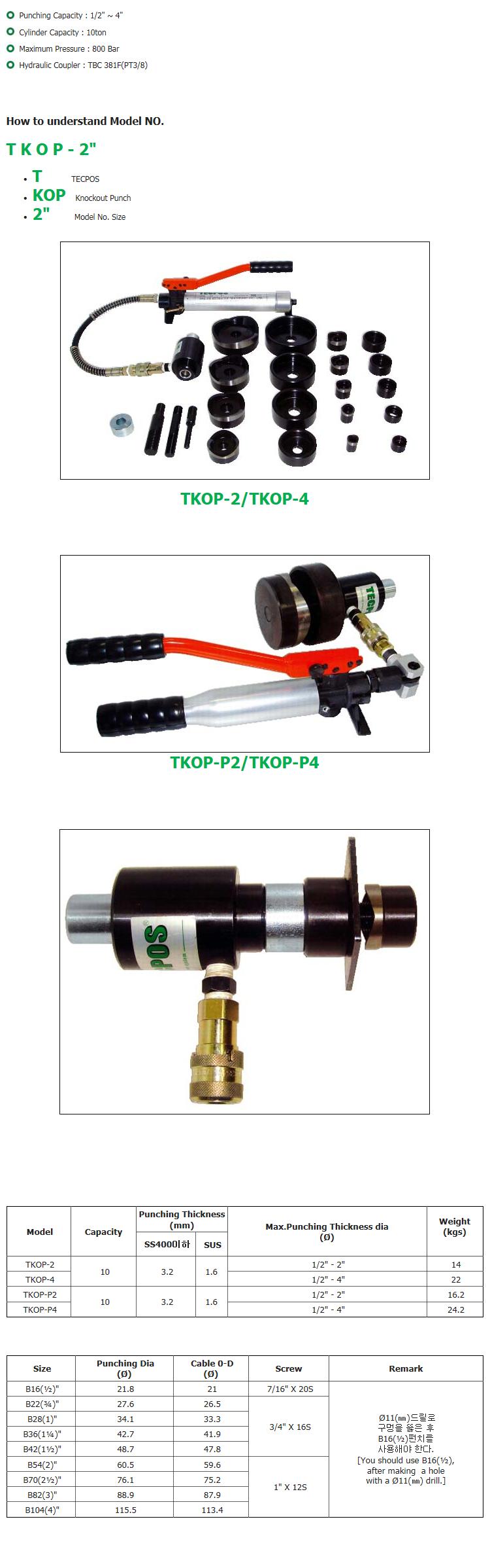 (주)대진유압기계 유압 천공기 TKOP-Series