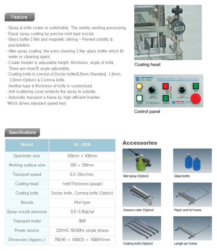 DAELIM STARLET Spray / Knife & Gravure Coating Machine DL-2020