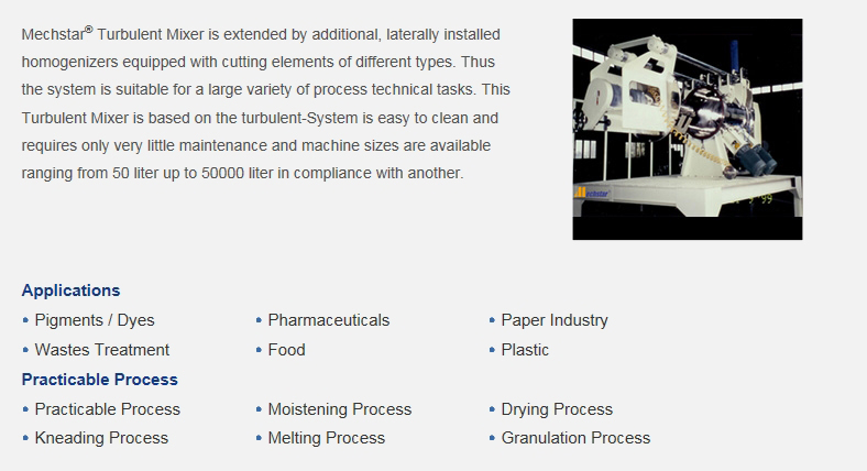 DAESUNG CHEMICAL MACHINERY Turbulent Mixer