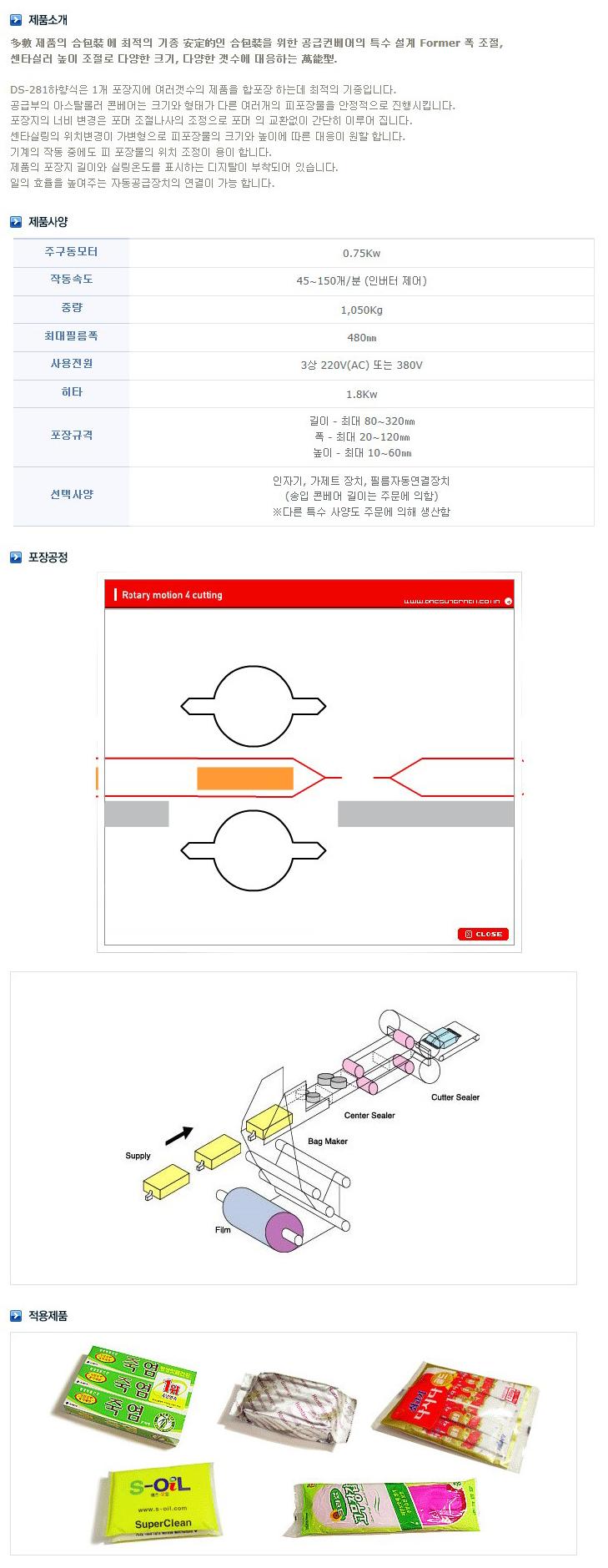 대성자동포장기계 수평형 삼면 자동포장기계 (보급형, 복수물) DS-281U