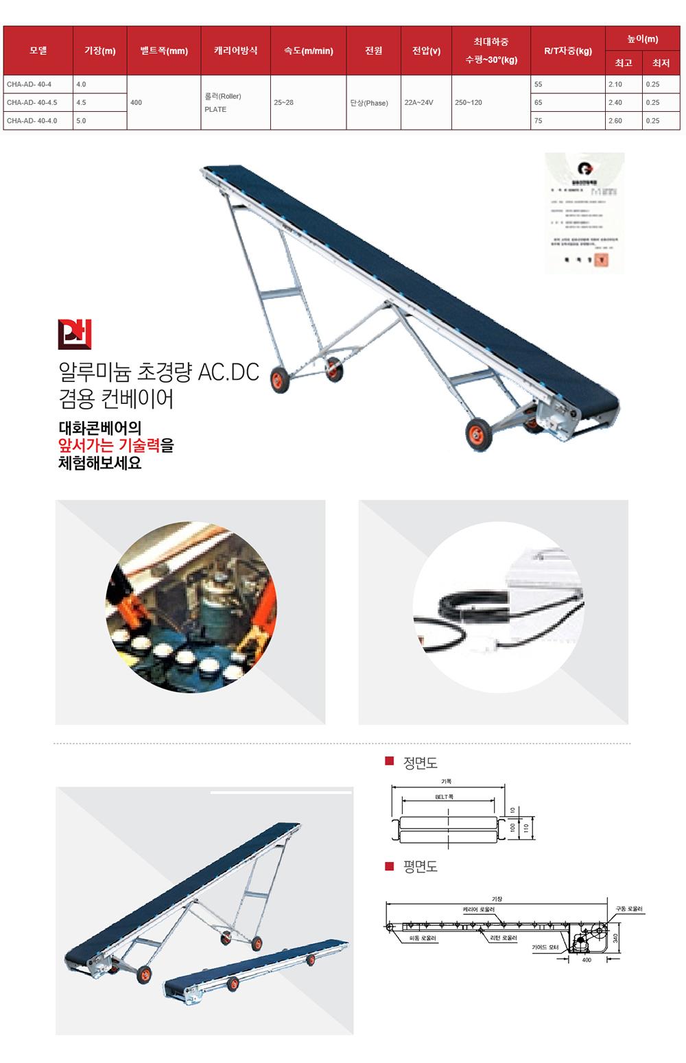 (주)대화콘베어 알루미늄 초경량 AC.DC 겸용 컨베이어 CHA-AD-40-Series