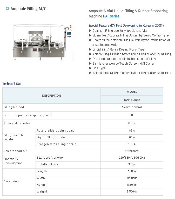 DAEYOUNG PHARMATECH Ampoule Filling M/C (Filling & Rubber Stoppering) DAF-Series