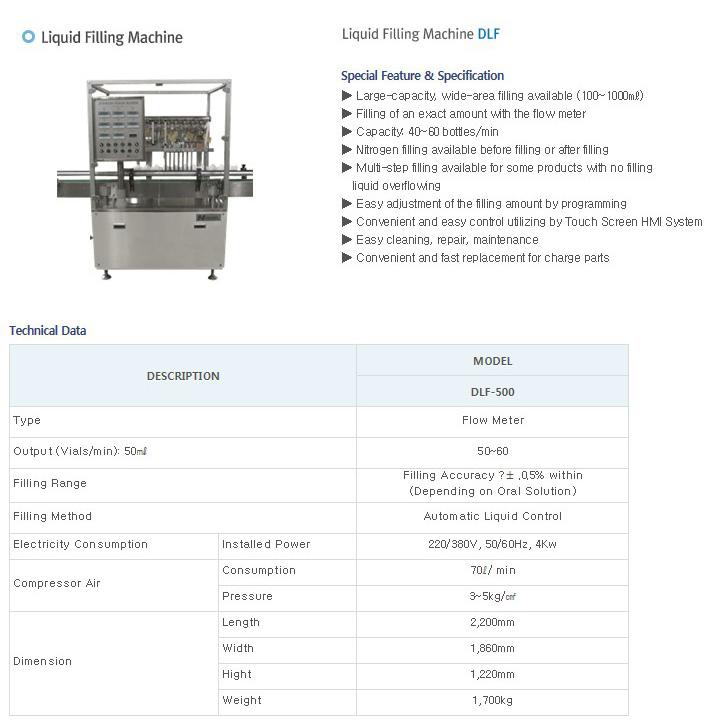 DAEYOUNG PHARMATECH Liquid Filling Machine DLF-500