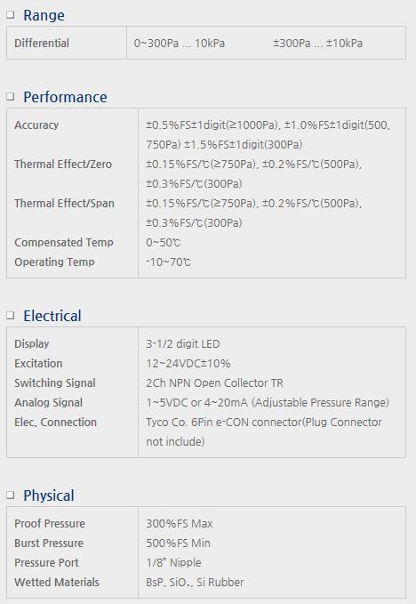 Sensor System Technology Differential Pressure Transmitter for Air Pressure Model DPM