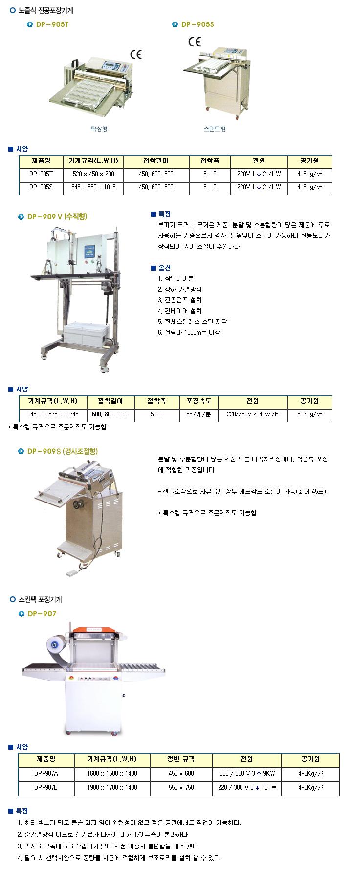 듀팩코리아 노즐식 진공포장기계 & 스킨팩 포장기계
