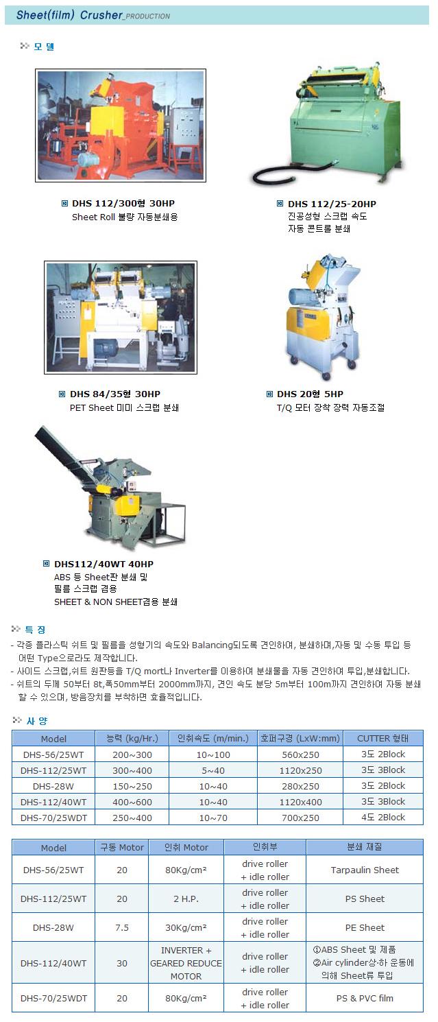 대흥정공 씨트불량롤 자동 분쇄용 DHS Series
