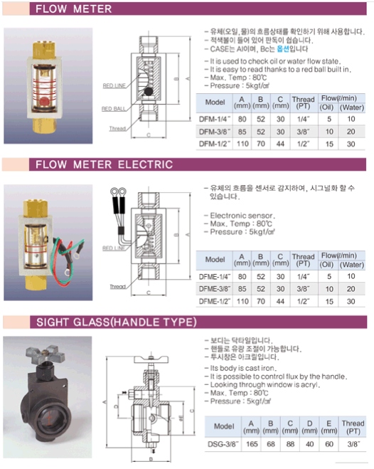 (주)동화기업 Flow Meter / Flow Meter Electric / Sigh Glass (Handle Type) DFM, DFME, DSG