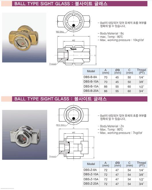 (주)동화기업 볼사이트 글래스 DBS-B/Z