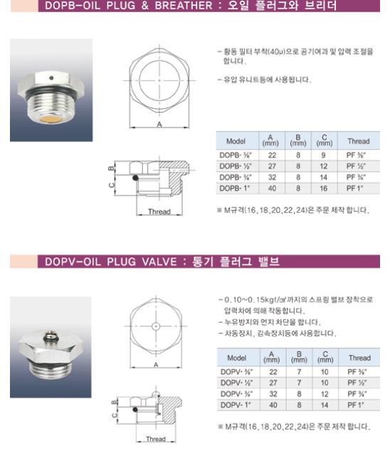 (주)동화기업 오일 플러그와 브리더 / 통기 플러그 밸브 DOPB, DOPV